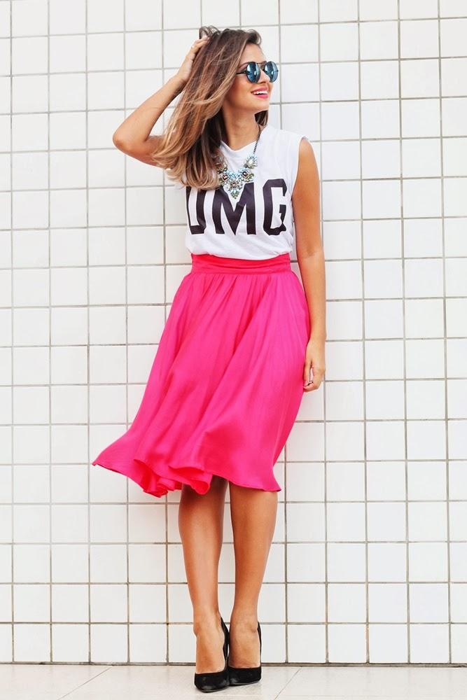 Saia Midi pink