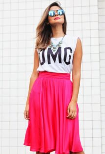 Look do dia: Saia Midi Pink