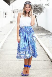 Saia Midi Estampada – Look do dia