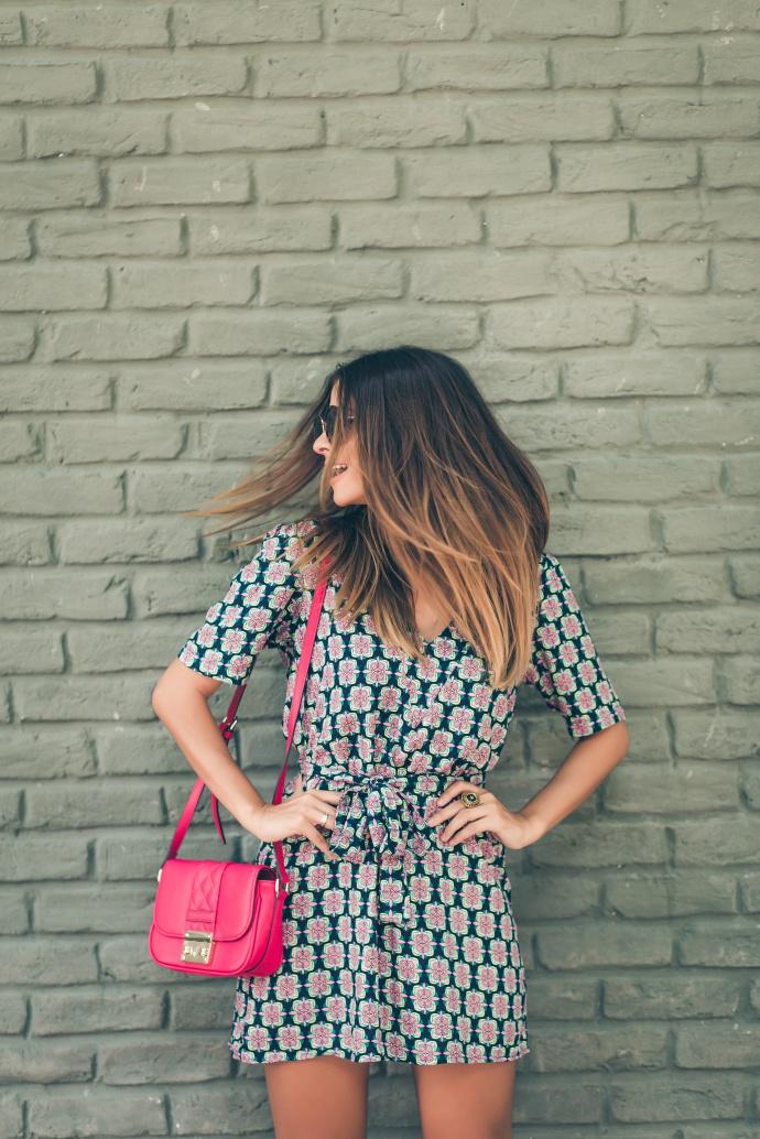 vestido bata estampado