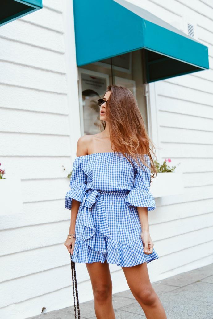 vestido vichy azul